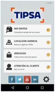 App Tipsa pantalla movil inicio