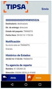 Tipsa App información seguimiento envio